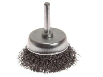 Wire Cup Brush 50mm x 6mm Shank, 0.30mm Wire